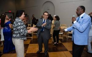 Dancing mode. Amb. de Leon and Ms. Eleanor de Leon with Linwood Peel.