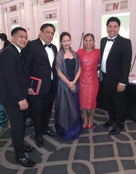Michael Nierva (rightmost) with (l-r) Paul Magahis, Aureo Sales, Agnes Jamora, and Joji Jalandoni wearing a rich red hablon dress.